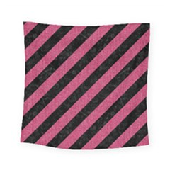 Stripes3 Black Marble & Pink Denim (r) Square Tapestry (small) by trendistuff