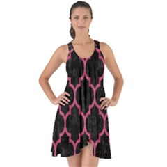 Tile1 Black Marble & Pink Denim (r) Show Some Back Chiffon Dress by trendistuff