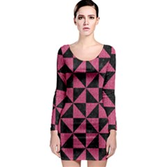 Triangle1 Black Marble & Pink Denim Long Sleeve Bodycon Dress