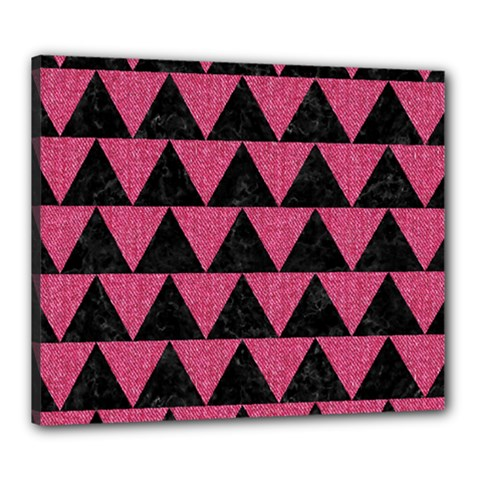 Triangle2 Black Marble & Pink Denim Canvas 24  X 20  by trendistuff