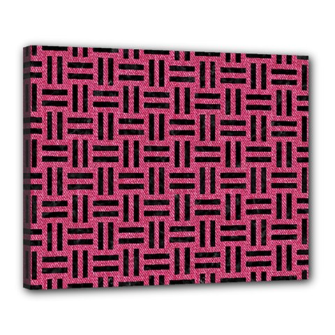Woven1 Black Marble & Pink Denim Canvas 20  X 16  by trendistuff