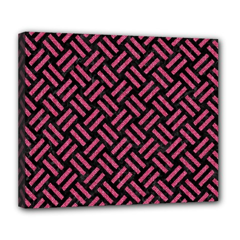 Woven2 Black Marble & Pink Denim (r) Deluxe Canvas 24  X 20   by trendistuff