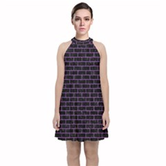Brick1 Black Marble & Purple Denim (r) Velvet Halter Neckline Dress  by trendistuff