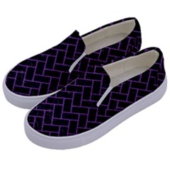 Brick2 Black Marble & Purple Denim (r) Kids  Canvas Slip Ons by trendistuff