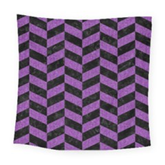 Chevron1 Black Marble & Purple Denim Square Tapestry (large) by trendistuff