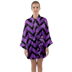 Chevron9 Black Marble & Purple Denim Long Sleeve Kimono Robe by trendistuff