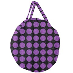 Circles1 Black Marble & Purple Denim (r) Giant Round Zipper Tote