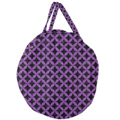 Circles3 Black Marble & Purple Denim (r) Giant Round Zipper Tote