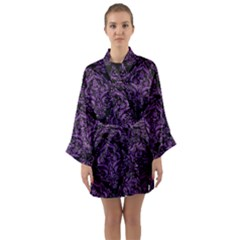 Damask1 Black Marble & Purple Denim (r) Long Sleeve Kimono Robe by trendistuff