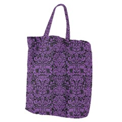 Damask2 Black Marble & Purple Denim (r) Giant Grocery Zipper Tote by trendistuff