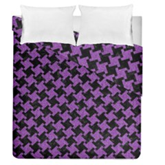 Houndstooth2 Black Marble & Purple Denim Duvet Cover Double Side (queen Size) by trendistuff