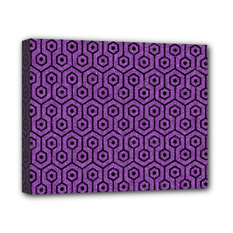 Hexagon1 Black Marble & Purple Denim Canvas 10  X 8  by trendistuff