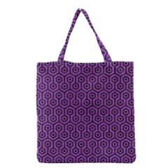 Hexagon1 Black Marble & Purple Denim Grocery Tote Bag by trendistuff