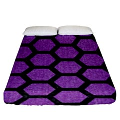 Hexagon2 Black Marble & Purple Denim Fitted Sheet (king Size) by trendistuff