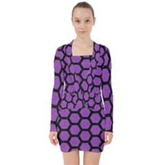 Hexagon2 Black Marble & Purple Denim V Neck Bodycon Long Sleeve Dress