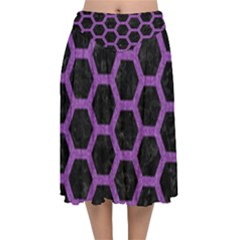 Hexagon2 Black Marble & Purple Denim (r) Velvet Flared Midi Skirt by trendistuff