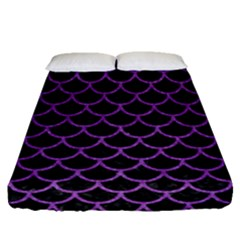 Scales1 Black Marble & Purple Denim (r) Fitted Sheet (queen Size) by trendistuff