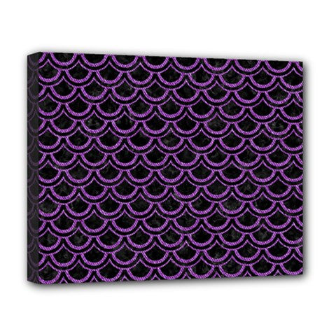 Scales2 Black Marble & Purple Denim (r) Deluxe Canvas 20  X 16   by trendistuff