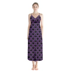 Scales2 Black Marble & Purple Denim (r) Button Up Chiffon Maxi Dress by trendistuff