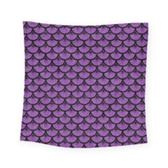 Scales3 Black Marble & Purple Denim Square Tapestry (small) by trendistuff