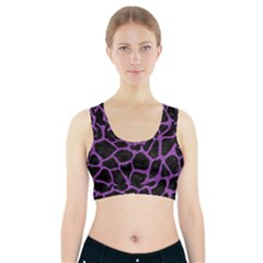 Skin1 Black Marble & Purple Denim Sports Bra With Pocket