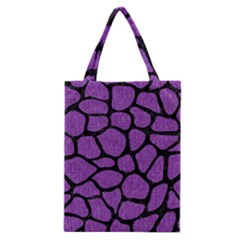 Skin1 Black Marble & Purple Denim (r) Classic Tote Bag by trendistuff