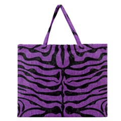 Skin2 Black Marble & Purple Denim Zipper Large Tote Bag by trendistuff