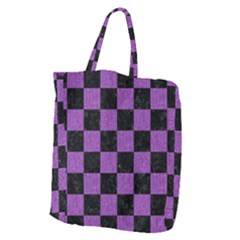 Square1 Black Marble & Purple Denim Giant Grocery Zipper Tote