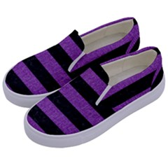 Stripes2 Black Marble & Purple Denim Kids  Canvas Slip Ons by trendistuff