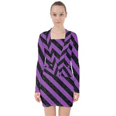 Stripes3 Black Marble & Purple Denim V Neck Bodycon Long Sleeve Dress