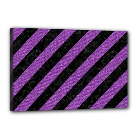 Stripes3 Black Marble & Purple Denim (r) Canvas 18  X 12  by trendistuff