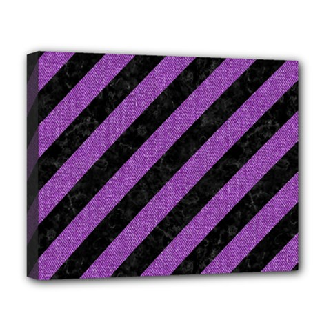 Stripes3 Black Marble & Purple Denim (r) Deluxe Canvas 20  X 16   by trendistuff