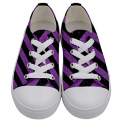 Stripes3 Black Marble & Purple Denim (r) Kids  Low Top Canvas Sneakers