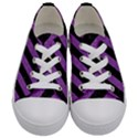 STRIPES3 BLACK MARBLE & PURPLE DENIM (R) Kids  Low Top Canvas Sneakers View1