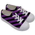 STRIPES3 BLACK MARBLE & PURPLE DENIM (R) Kids  Low Top Canvas Sneakers View3