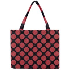 Circles2 Black Marble & Red Denim (r) Mini Tote Bag by trendistuff