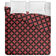 Circles3 Black Marble & Red Denim Duvet Cover Double Side (california King Size) by trendistuff