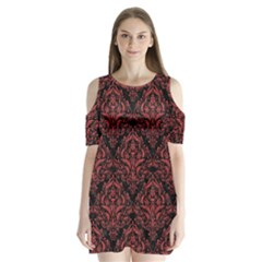 Damask1 Black Marble & Red Denim (r) Shoulder Cutout Velvet One Piece
