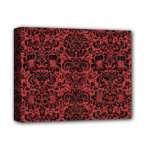 Damask2 Black Marble & Red Denim Deluxe Canvas 14  X 11  by trendistuff