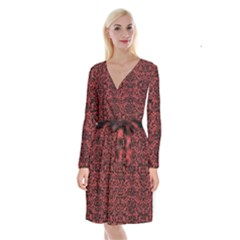 Damask2 Black Marble & Red Denim Long Sleeve Velvet Front Wrap Dress