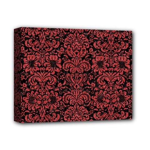 Damask2 Black Marble & Red Denim (r) Deluxe Canvas 14  X 11  by trendistuff