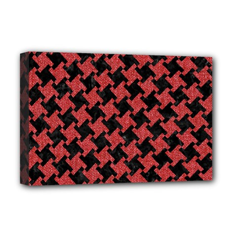 Houndstooth2 Black Marble & Red Denim Deluxe Canvas 18  X 12   by trendistuff