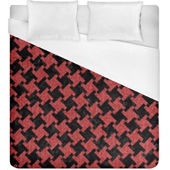 Houndstooth2 Black Marble & Red Denim Duvet Cover (king Size) by trendistuff