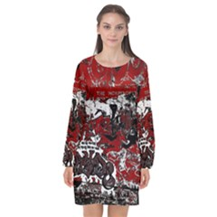 Graffiti Long Sleeve Chiffon Shift Dress
