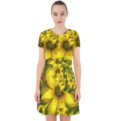 Beautiful Yellow-green Meadow Of Daffodil Flowers Adorable In Chiffon Dress by jayaprime