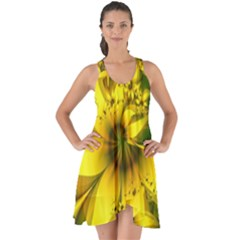 Beautiful Yellow-green Meadow Of Daffodil Flowers Show Some Back Chiffon Dress by jayaprime