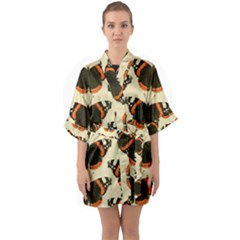 Butterfly Butterflies Insects Quarter Sleeve Kimono Robe
