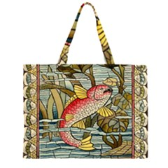 Fish Underwater Cubism Mosaic Zipper Large Tote Bag by Celenk