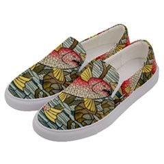 Fish Underwater Cubism Mosaic Men s Canvas Slip Ons by Celenk
