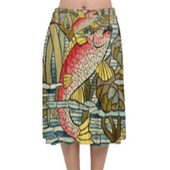 Fish Underwater Cubism Mosaic Velvet Flared Midi Skirt by Celenk